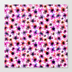 Purple watercolor flowers Canvas Print