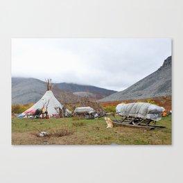 Camp of reindeer herders in national park Yugyd Va in Russia. Canvas Print