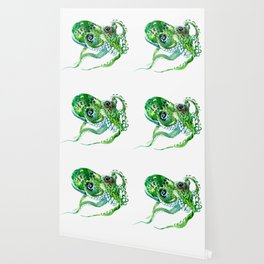 Beach art, green Octopus, sea world, aquatic nautical octopus art Wallpaper