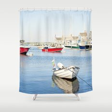 Boats Reflecting in Harbor in Nantucket Shower Curtain