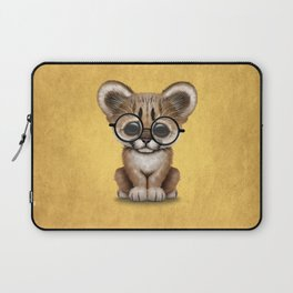 Cute Cougar Cub Wearing Reading Glasses on Yellow Laptop Sleeve
