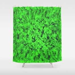 Fiery Green Shower Curtain