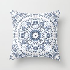 Grayish Blue White Flowers Mandala Throw Pillow