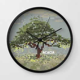 Acacia in Pixel Art Wall Clock