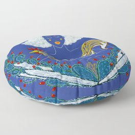 Lady with Rooster Floor Pillow