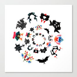 circle of Rorschach test Ink blots ! Canvas Print