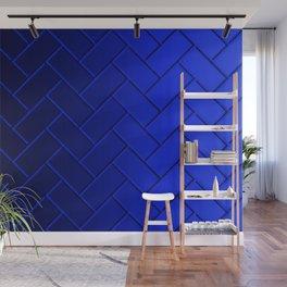 Herringbone Gradient Dark Blue Wall Mural