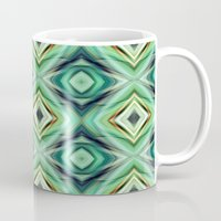 green pattern Mugs featuring Pattern green  by Christine baessler