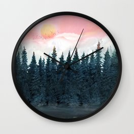 Forest Under the Sunset Wall Clock