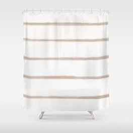 Skinny Strokes Gapped Horizontal Nude on Off White Shower Curtain