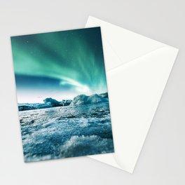 aurora borealis at jakursarlon Stationery Cards