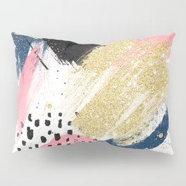 Modern pink gold navy geometric abstract brushstrokes pattern Pillow Sham