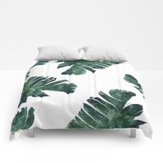 Banana Leaf Watercolor Pattern #society6 Comforters