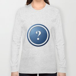 Blue Question Mark Round Button Long Sleeve T-shirt