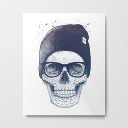 Color skull in a hat Metal Print
