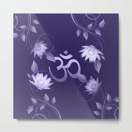 Om Symbol with Lotus Ornament on purple Metal Print