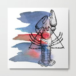 Lobster in Red and Blue Metal Print