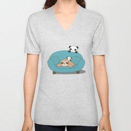 Kawaii Panda and Sloth Unisex V-Neck