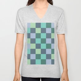 Abstract green squares geometry Unisex V-Neck
