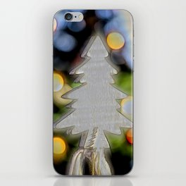 small christmas tree and lights iPhone Skin