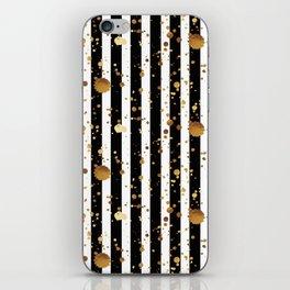 Stripes & Gold Splatter iPhone Skin
