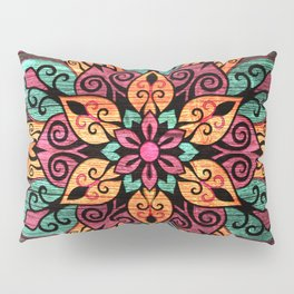 Pyrographed  Flower with color on Wood Pillow Sham