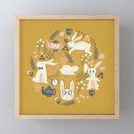 Bunnies + Teapots in Gold Framed Mini Art Print