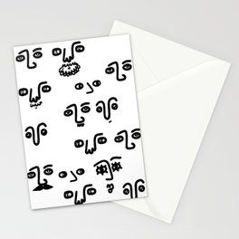 Black and White Faces Stationery Cards
