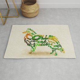 The Rough Collie Dog Typography Art / Watercolor Painting Rug