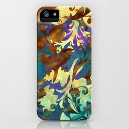 Jungle Floral Neck Gator Blue Gold and Brown Jungle Flowers iPhone Case