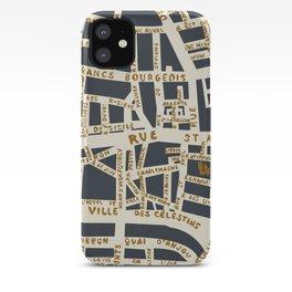 PARIS MAP GREY GOLD iPhone Case