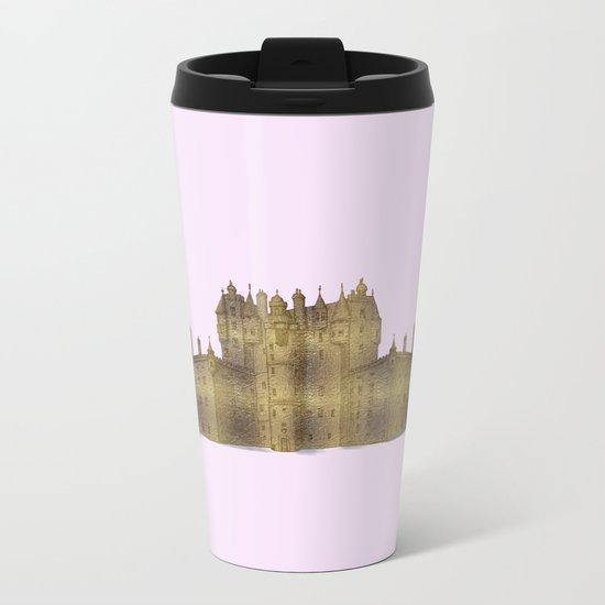 Golden castle on a pink background Metal Travel Mug