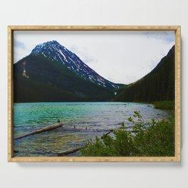 Geraldine Peak as seen from Geraldine Lake in Jasper National Park, Canada Serving Tray