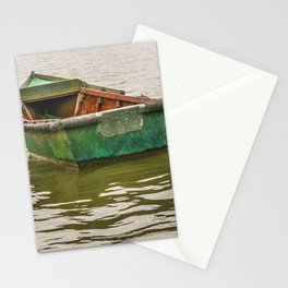 Lonely Old Fishing Boat at Santa Lucia River in Montevideo, Uruguay Stationery Cards