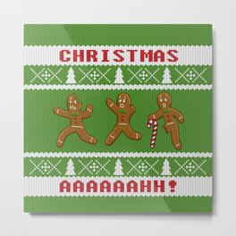 Ugly Christmas Sweater Scared Gingerbread Men Green Metal Print