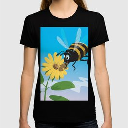 Happy cartoon bee with yellow flower LARGE T-shirt