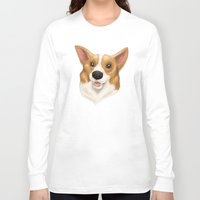 corgi Long Sleeve T-shirts featuring Corgi by Alba Ferrari