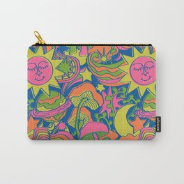 Psychedelic Daydream in Neon + Blue Carry-All Pouch