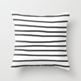 Simply Drawn Stripes in Simply Gray Throw Pillow