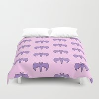 pastel goth Duvet Covers featuring Pastel Bat by Samantha Little