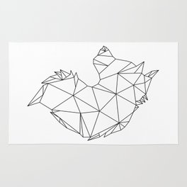 Geometric Wolf (Black on White) Rug