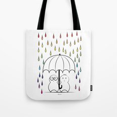 Mimos under Rainbow rain Tote Bag