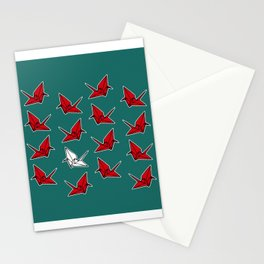 PAPER CRANES RED WHITE AND BLUE Stationery Cards