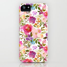 Modern pink teal green hand painted leaves floral iPhone Case