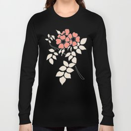 FLORAL IN BLUE AND CORAL Long Sleeve T-shirt