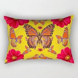 RED FLOWERS MONARCH BUTTERFLY FANTASY ART Rectangular Pillow