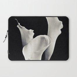 Minimal white flowers on black backround Laptop Sleeve