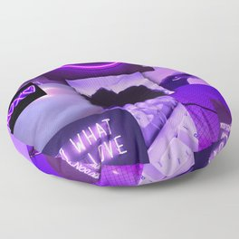 Purple love aesthetic ollage Floor Pillow