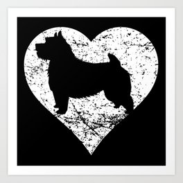 Distressed Norwich Terrier Heart Dog Owner Graphic Art Print