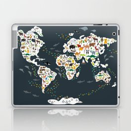 Cartoon animal world map for kids, back to schhool. Animals from all over the world Laptop & iPad Skin